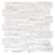 Jeffrey Court hurchill White Split Face 11.75 in. x 12.5 in. x 8 mm Marble Mosaic Wall Tile-99615 at The Home Depot