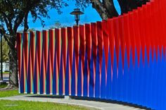 """Designed from across the pond and fabricated in Houston, """"Double Physichromie"""" is the product of kinetic artist Carlos Cruz-Diez, whose work was on exhibit at the Museum of Fine Arts, Houston, early last year. Facade Design, Wall Design, Museum Of Fine Arts, Art Museum, Opt Art, University Of Houston, Spirited Art, Exhibition Space, Light Art"""