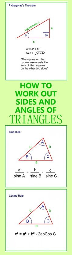 How to work out angles and sides of triangles, Cosine and Sine Rules, Pythagoras, Scalene, obtuse, equilateral and similar triangles. #math #trigonometry #juniorhigh #education #STEM