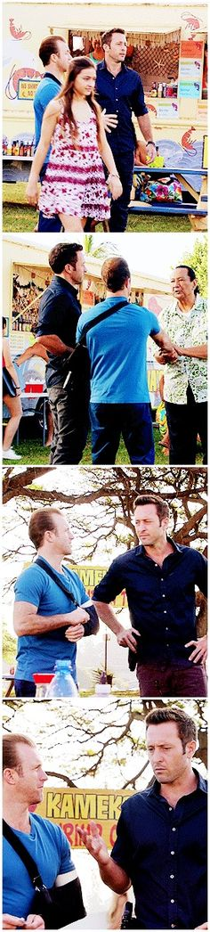I feel like I need a tan.  A tan?  I look a little pasty. Why don't you get some sun? - Aka: beautiful babes in blue, chattering away to each other about random things. #hawaii five 0 #mcdanno #scott caan #alex o'loughlin #they look like such a couple #beautiful babes in blue #h50: 6.18