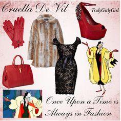 """""""Disney Style: Cruella De Vil"""" by trulygirlygirl on Polyvore.    Me encanta pero sin ese abrigo... aunque sin el abrigo no seria estilo Cruela De Vil... xD"""