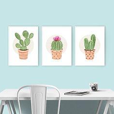 Amazon.com: Cactus Art Poster Print, Set of 3, Green Terra Cotta, Modern Home Decor Office Artwork (5x7, 11x14, 12x16, 13x19 inches): Handmade
