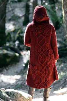pattern 'Sylvie' by Mari Muinonen Sweater Coats, Red Sweaters, Cardigans, Coat Patterns, Knitting Patterns, Mode Style, Style Me, Gypsy Style, Pulls