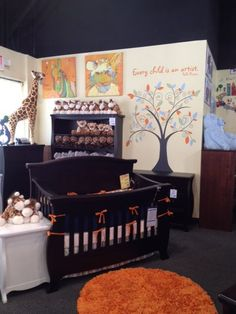 Orange and Navy crib bedding set on display with a jungle theme to the nursery decor at Baby Furniture Plus Kids in Columbia, SC Nursery Furniture, Kids Furniture, Nursery Modern, Modern Nurseries, Girl Nurseries, Navy Crib Bedding, Princess Bedrooms, Modern Kids, Baby Bedroom