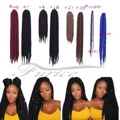 Aliexpress.com : Buy Extensions Crochet Braids Havana Mambo Twist 12~24 inch Crochet Braiding Hair Braids Synthetic Hair Extensions Havanna  Twist from Reliable hair extension suppliers china suppliers on crochet braiding hair extension Store Synthetic Hair Extensions, Braid In Hair Extensions, Havana Braids, Havanna Twist, Crochet Braids, Braided Hairstyles, China, Store, Twisted Hairstyles