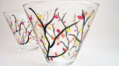 RaeSmith  - Hand painted wine glasses painted glassware  - on Etsy