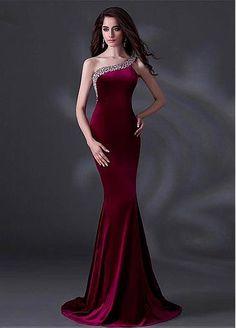 Chic Fleece One Shoulder Neckline Floor-length Sheath Prom Dress