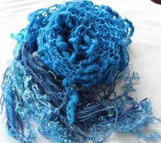 Hand Knit Shawl Beautiful Blues  made of Handspun by bpenatzer, $148.00