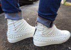 Scarpe donna Vera Pelle Custom Shoes Borchie sneaker Uomo artigianali alte Italy www.tendencetime.com