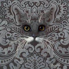 I LOVE THIS ! I Love Cats, Cool Cats, Cat Has Fleas, Art Fantaisiste, Cat Quilt, Art Et Illustration, Grey Cats, Cat Drawing, Whimsical Art
