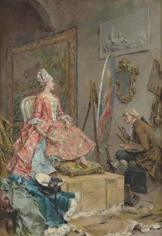 Sitting for her Portrait. Frederik Hendrik Kaemmerer (Dutch, 1839-1902). Oil on canvas laid down on board. In 1865, attracted by new trends in art, Kaemmerer went to Paris and enrolled at the Académie des Beaux-Arts, where he studied with Jean-Léon Gérôme and switched to a more Academic style. For a time, he specialized in French genre scenes set in the 18th century, featuring elegant ladies with courteous men. In 1870, he held his first exhibition at the Salon and won a medal there in 1874.