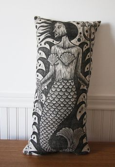 Mermaid Woodcut Hand Printed Large Linen Novelty by HorseAndHare, $65.00