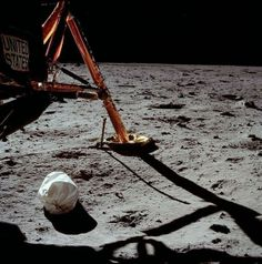 The first photograph taken by Neil Armstrong on the surface of the Moon, 1969.