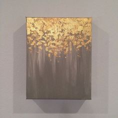 Gold leaf painting, abstract gold leaf painting, 8x10 wall art, heavy duty canvas painting: