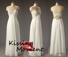 Gorgeous Empire Ivory sweetheart Aline prom dress by Kissingmoment, $99.99