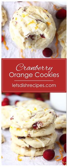 Cranberry Orange Cookies Recipe -- Cranberry and orange come together in this soft and chewy holiday drop cookie. #cookies #cranberries #desserts #christmas #recipes