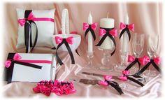 Hot Pink Black Wedding Pillow, Basket, Guest book, Bridal Garters, Glasses, Cake Set - Wedding Accessories Ceremony Decor. $205.00, via Etsy.