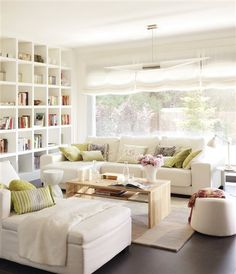 Check out these amazing ideas on white living room designs. Living Room White, Cozy Living Rooms, Home Living Room, Living Room Designs, Living Room Decor, Living Spaces, Small Living, Style At Home, Muebles Living