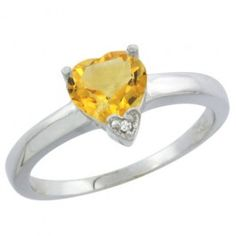 14K White Gold Natural Citrine Heart 7x7mm.  This beautiful ring is solid 14K Gold and made in the USA, with Genuine Diamonds, Natural Gemstones.