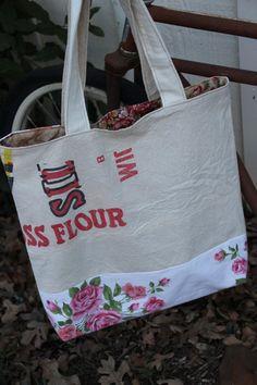 Bag / Tote  Vintage Flour Sacks Vintage Table by brigidbrammerbags, $28.00