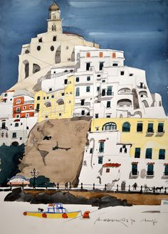 Paul Hogarth / 1994 / Amalfi / watercolour / 49 x 40 cm