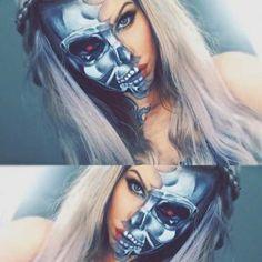 Half Face Terminator Makeup Look for Halloween