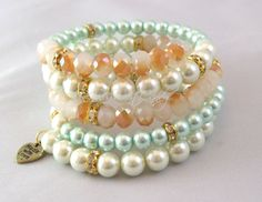 Peach and Mint Beaded Coil Bracelet by RandRsWristCandy on Etsy