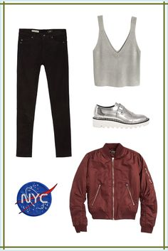 The Bomber JacketSince this outerwear style tends to dominate any outfit, dial back the other components so they don't compete. In this look, black skinny jeans and a knit tank create the perfect minimal foundation. The metallic loafers echo the zipper detailing on the maroon jacket — which you can punch up further with a cool patch. ...