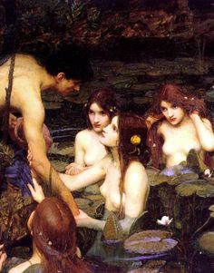 John William Waterhouse -   Detail of Hylas and the Nymphs, 1896, oil on canvas, Manchester Art Gallery, Manchester.  The myth behind this painting has an unhappy ending. When the ship of the Argonauts reached the island of Cios, Hylas, the young and handsome companion of Hercules, was sent ashore in search of water. He discovered a fountain, but the nymphs of the place were so enchanted by his beauty that they pulled him to the depths of their watery abode, and in spite of the cries of…