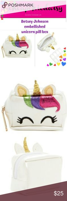 🆕🌈BETSEY JOHNSON UNICORN PILL BOX WITH CASE BNWT 🆕BETSEY JOHNSON BNWT UNICORN PILL CASE, IN ORIGINAL PACKAGING  💌AUTHENTIC 💌COMES WITH CASES FOR YOUR MEDS OR SMALL ITEMS LIKE COINS  ⭐THIS IS NOT A PURSE PLEASE READ DIMENSIONS IN PIC 5⭐ Betsey Johnson Bags Cosmetic Bags & Cases