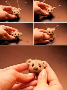 Mini bear tutorial. In a different language but has a lot of pics that you can figure it out. ¥