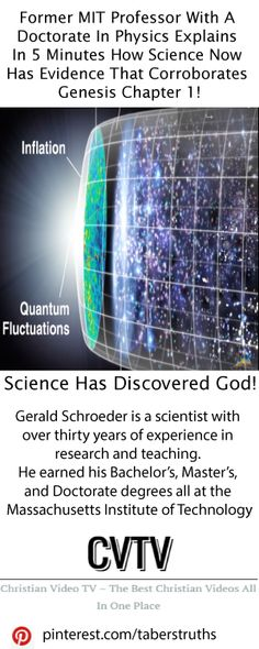 Watch this informative 5 minute video on how science now has found evidence confirming what the Bible said in Genesis chapter 1 thousands of years ago! http://www.christianvideotv.com/science-has-discovered-god/