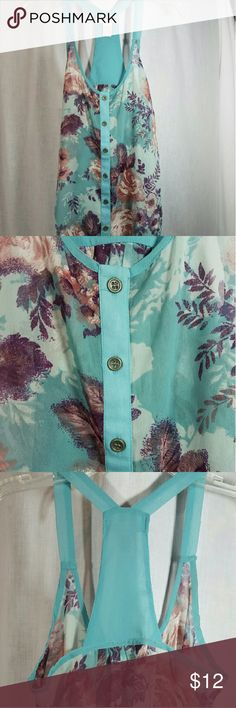 Aqua Print Sheer Top Very pretty sheer top with deep colored flowers on aqua color background.  Unique back design. This will look great under a jacket for work or wear with a undershirt or bralette in the summer months. Lottie & Holly  Tops