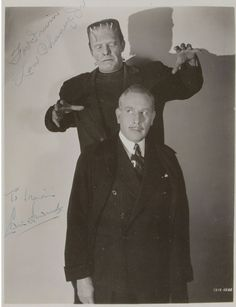 Lon Chaney Jr and Sir Cedric Hardwicke-the GHOST OF FRANKENSTEIN (1942)