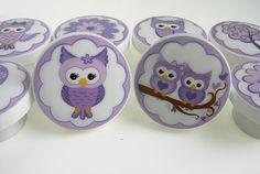 Pretty Lavender Owl Knobs Purple Owl Knobs Tree by LeilasLoft, $38.00