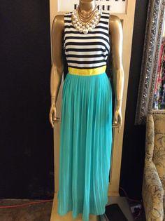 Nautical color block maxi dress