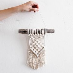 Mini Macrame Wall Hanging made of 100% cotton rope in San Diego, California. Shop our full selection of gifts and home goods at ShopPigment.com