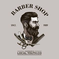 More than 3 millions free vectors, PSD, photos and free icons. Exclusive freebies and all graphic resources that you need for your projects Barber Poster, Barber Logo, Vintage Logo Design, Custom Logo Design, Logo Vintage, Logo Barbier, Barber Tattoo, Barbershop Design, Barbershop Ideas