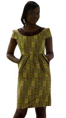 Afrochic - Gathered-waist dress - front