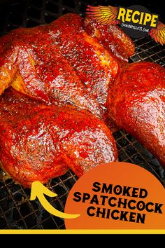 Smoked Spatchcock Chicken Recipe. This smoked chicken is to die for! Juicy and tender, with tons of flavor from pellet grilling plus rubs and sauce. You don't want to miss this recipe for amazing spatchcock chicken smoker recipe. Great for an easy BBQ dinner, and versatile enough that you'll love this smoked chicken on sandwiches, in wraps, and more! #smokerrecipe #BBQ #pelletgrilling Pellet Grill Recipes, Pork Roast Recipes, Pulled Pork Recipes, Smoker Recipes, Bacon Recipes, Turkey Recipes, Grilling Recipes, Chicken Recipes, Paleo Barbecue Sauce