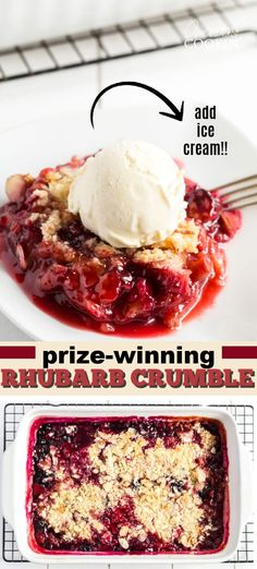 Tangy rhubarb combined with strawberries and blueberries is a delicious combination. This recipe for berry rhubarb crumble won a $5000 prize, I can see why! #rhubarbcrumble #rhubarbcobbler #strawberryrhubarbrecipes #rhubarbrecipes #rhubarbdesserts #amandascookin