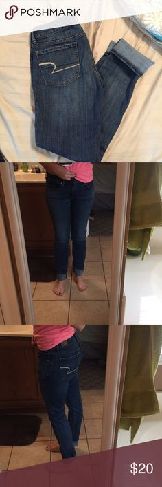 American Eagle straight leg jeans Light blue American Eagle jeans. Straight/skinny leg. I'm 5'3 and I roll them up once typically but can certainly be worn straight out as well if you are taller. American Eagle Outfitters Jeans Skinny