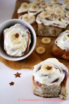 Cinnamon and Coriander: Chai-Spiced Banana Bread Rolls & Cream Cheese - Frosting