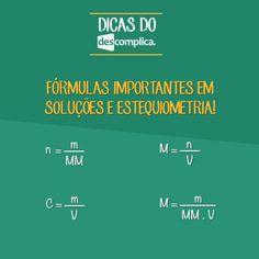 Anote as fórmulas importantes de Soluções e Estequiometria. Clique na imagem para assistir à aula em vídeo sobre o assunto.