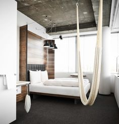 Hotel Daniel Indoor Hammock Remodelista COULD THIS BE A VERY NICE MURPHY BED?
