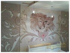 Bedroom Design with Silk Plaster - Wallpaper Silk Plaster, Wall Decals, Lion Sculpture, House Design, Statue, Bedroom, Wallpaper, Painting, Home Decor