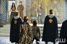 """Reign -- """"Inquisition"""" -- Image Number: RE111b_0288.jpg -- Pictured (L-R): Adelaide Kane as Mary, Queen of Scots, Megan Follows as Queen Catherine (back to camera), Torrance Coombs as Bash and Alan Van Sprang as King Henry -- Photo: Ben Mark Holzberg/The CW -- © 2013 The CW Network, LLC. All rights reserved."""