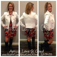 We are in LOVE with this amazeballs white coat ($56). Wear it as a jacket or a layering piece over your favorite fall outfit. We put it over this lovely tribal print dress ($50) in reds, blacks, & white and threw on a pair of our fabulous boots ($48) to make it the perfect fall look. To add this cute outfit to your closet, stop in and see us girls of Apricot Lane St. Cloud, give us a call at 320-774-1533, or visit and follow us on Facebook at www.facebook.com/ApricotLaneStCloud. We ship…