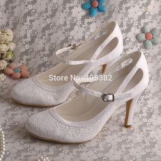 Mary Jane Closed Toe CuWomen White Shoes Lace Bridal Shoes Wedding 9CM Heels