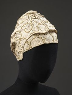 Coif and Forehead Cloth: ca. 1600-1650, linen, silk thread, gilt thread and spangles; hand-sewn and hand embroidered with blackwork.